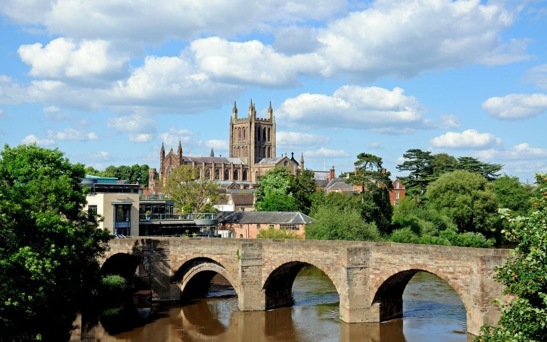 Wye bridge and Cathedral, Hereford.