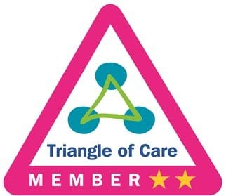 Triangle of Care logo with two stars
