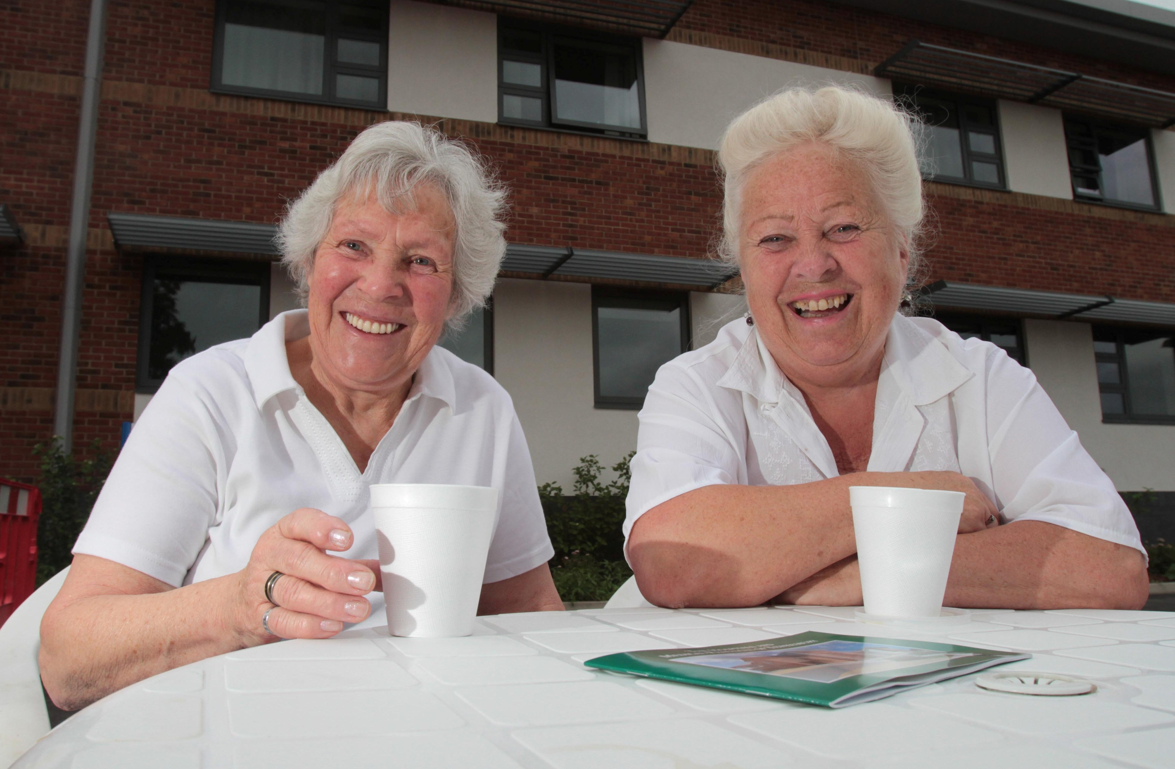 Jean Mansfield and Milly Wood enjoy a cup of tea at Tewkesbury Community Hospital open day